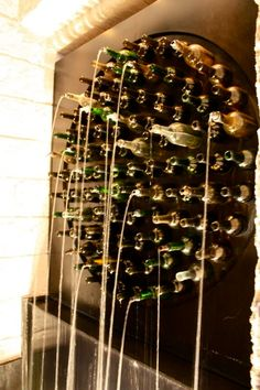 Wine Bottle Wall Fountain :: Maison des Rêveries :: inspiration only Wine Bottle Fountain, Wine Bottle Wall, Wine Bottle Crafts, Bottle Art, Wine Bottles, Glass Bottle, Deco Restaurant, Restaurant Design, Restaurant Entrance