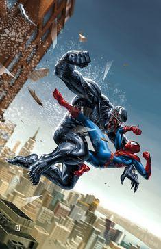 Spiderman and venom Marvel Comics Art, Marvel Comic Universe, Marvel Heroes, Marvel Avengers, Spiderman Art, Amazing Spiderman, Venom Spiderman, Marvel Venom