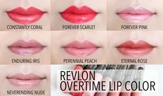 Revlon Colorstay Overtime Lip Color Lip Swatches in Constantly Coral, Forever Scarlet, Forever Pink, Enduring Iris, Perennial Peach, Eternal Rose, Neverending Nude