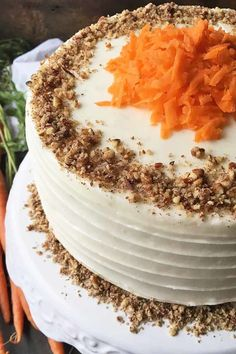 Each layer of our classic carrot cake has toasted pecans and plump golden raisins, and looks gorgeous covered in thick cream cheese frosting. Read more now. Cake With Cream Cheese, Cream Cheese Frosting, Tea Cakes, Mini Cakes, Brunch Cake, Best Carrot Cake, Spring Desserts, Easy Desserts, Bowl Cake