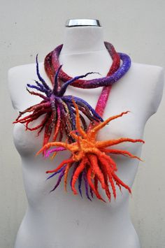 Necklace  sea anemones  necklace scarf by AleksandrabWiniarska, $53.00