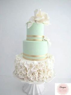 Teal N White iWedding cake with Gold Highlights. Calmingly Beautiful.