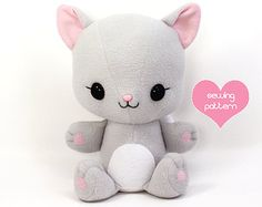 Plushie Sewing Pattern PDF - Kitten Cat cute soft plush toy - cuddly stuffed animal 15""