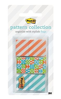 Post-it Pattern Flags, Geos Pattern Collection, .94 x 1.7 Inches, 60/On-the-Go Dispenser, 1 Dispenser/Pack (682-GEOS)