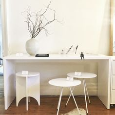 White desk and side tables. #furniture #design #interiordesign #minimalism