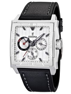 Festina Mens Multifunction Stainless Watch - Black Leather Strap - White  Dial - F16568-1. FOURNIER · Montre 5f34118582