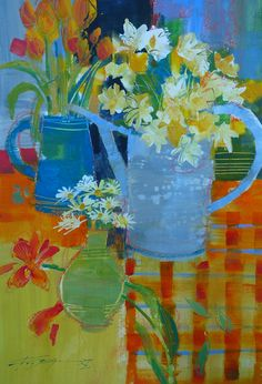 """Chris Forsey RI """"Blooming Table"""" Mixed media  48x33cm  £895 www.mallgalleries.org.uk"""