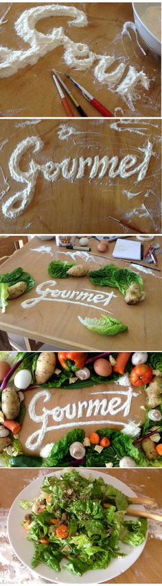 Gourmet - constructing typography using relevant food items so that the medium becomes the message. - Could work for individual worgs perhaps but not body copy.