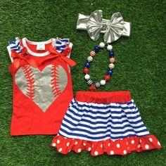 Heart Baseball Skirt Set