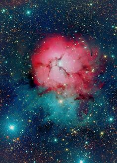 The Trifid Nebula (catalogued as Messier 20 or M20 and as NGC 6514) is an H II region located in Sagittarius. It was discovered by Charles Messier on June 5, 1764.[3] Its name means 'divided into three lobes'.