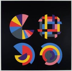 Herbert Bayer - A Series of Eight Screenprints, Four Segmented Circles; Creation Date: 1970; Medium: Screenprint on paper; Dimensions: 29.72 X 29.72 in...