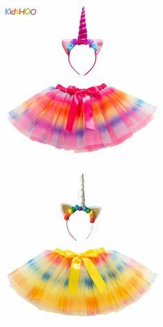 Toddler Girls Bowknot Rainbow Tutu Skirt with Unicorn Headband