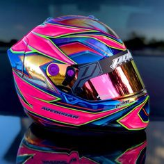 """Polen Designs Inc. on Instagram: """"New chromed our Arai for new customer @avedracing . Definitely a piece to see in person. Tons of detail in the pink areas as you can see in…"""" Racing Helmets, Motorcycle Helmets, Helmet Paint, Helmet Design, Chrome, Design Inspiration, Detail, Buckets, Sticks"""