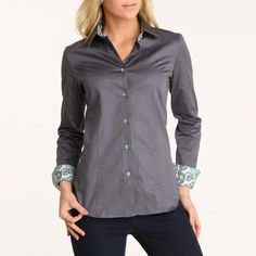 Paisley Contrast Shirt Charcoal, $66, now featured on Fab.