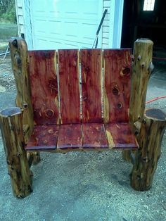 2 Person Cedar Log chair
