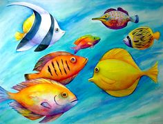 Something Fishy Canvas Print by Carol Shamrock Fish Artwork, Underwater Art, Fish Wallpaper, Hawaiian Art, Fish Drawings, Turtle Painting, Tropical Art, Sea Art, Colorful Fish