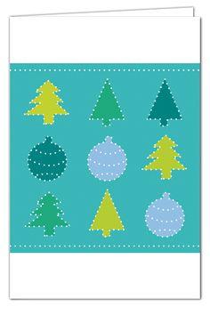Tannengrüße zum Prickeln - Türkis - Weihnachtskarte mit grünem Umschlag