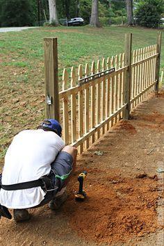 Wood Picket Fence, Brick Fence, Front Yard Fence, Pallet Fence, Diy Fence, Fence Landscaping, Backyard Fences, Garden Fencing, Fenced In Yard
