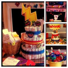 Zauberhafte Love these decorations! Diaper cake game- have guests guess how many diapers ar. Love these decorations! Shower Party, Baby Shower Parties, Baby Shower Themes, Baby Boy Shower, Baby Shower Decorations, Shower Ideas, Superman Baby Shower, Superhero Baby Shower, Candy Boquets