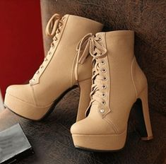 Concise Lace-Up Chunky Heel Ankle Boots - shoes - Schuhe Chunky Heel Ankle Boots, High Heel Boots, Chunky Heels, Heeled Boots, Shoe Boots, Boot Heels, Ankle Booties, Ankle Heels, Stilettos