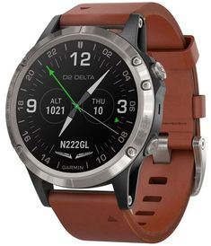 Best offer Garmin Delta, GPS Pilot Watch, Includes Smartwatch Features, Heart Rate and Music, Titanium with Brown Leather Band Deals Smartwatch Features, Silver Pocket Watch, Gps Navigation, Sport Watches, Watch Brands, Breitling, Smart Watch, Aviation, Brown Leather