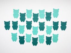 Teal Blue Embossed Owl Confetti  1 Die Cuts by LilpawsPaperArt, $2.45