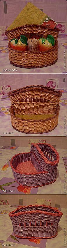 Плетение из газет. Коробочка для специй.