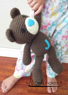 Love the crochet stuffed animals! Handmade Crochet Stuffed Teddy Bear with Monogram by MadiMakesIt, $25.00