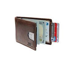 Travel Wallet RFID Blocking Bifold Slim Genuine Leather T...