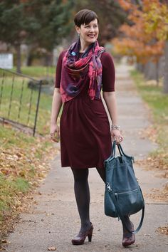Already Pretty outfit featuring burgundy ponte dress, Tsubo Acrea, Falke tights, Foley + Corinna Mid-City Tote, watercolor print scarf