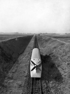 "June 9, 1932: The Zeppelin railway coach, or ""Lightning Express,"" could carry 40 passengers at 100 miles per hour in tests near Hanover, Germany. The caption notes, however, ""its ability to take curves remains to be tested."" Photo: The New York Times"
