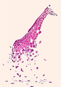 A unique graphic illustration. I like how the giraffe's spots are portrayed as structural blocks/shattered glass. The concept is original and creative because it visualizes a giraffe outside it's typical animal form. Art And Illustration, Giraffe Illustration, Tang Yau Hoong, Space Artwork, Arte Pop, Grafik Design, Amazing Art, Cool Art, Art Projects