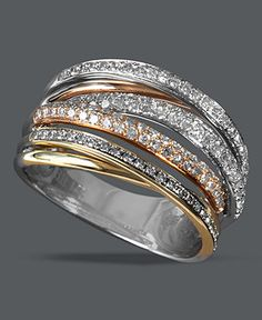 Trio by Effy Collection Diamond Ring, 14k Tri Tone Gold Overlapping Diamond Ring (1/2 ct. t.w.) - Rings - Jewelry & Watches - Macy's