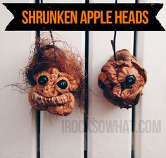 The coolest Halloween craft that I have ever seen are these Shrunken Apple Heads. Seriously easy-peasy and spooky as hell. Materials you'll need- Firm apples, preferably unbruised. Granny Smith apple
