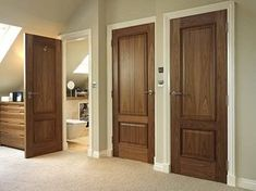 So-o-o-o - after searching and considering, I definitely want to go with the Oak 2-panel doors in dark stain for the interior doors, and a 2-panel (possibly louvered top) slider for the closets.