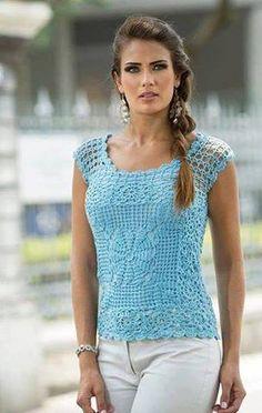 Patrón #1460: Blusa a Crochet | CTejidas [Crochet y Dos Agujas]