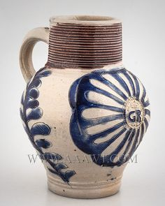 Salt Glazed Stoneware Jug, GR, Picked out in Blue, Scarce Small Size 6 inches tall Westerwald Germany Circa 1715 to 1725 Made for British Market, Brushed in Cobalt and Manganese
