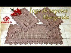 Jogo de tapetes Margarida em Crochê. 1/3Ramos de folhas .Por Vanessa Marcondes. - YouTube