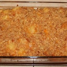 Paula Deen's Pineapple Casserole Recipe - - I have two pineapple casseroles here, think this might be the winner. Make this pineapple casserole gluten free, or traditional -- both are winners! Pineapple Cheese Casserole, Paula Deen Pineapple Casserole Recipe, Paula Deen Hashbrown Casserole, Pineapple Stuffing, Paula Deen Broccoli Casserole, Casserole Dishes, Casserole Recipes, Brocolli Casserole, Lasagna