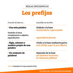 La ortografía de los prefijos (también -ex). Más cositas interesantes sobre la enseñanza y aprendizaje del #español en el Facebook de Profesores de ELE: https://www.facebook.com/profesoresdeele