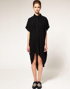ASOS Oversized Shirt Dress with Dipped Hem