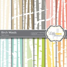 This is a versatile set of white birch forest digital papers set on 12 different colored backgrounds. Birch Forest Digital Paper; Birch Woods Digital Backgrounds