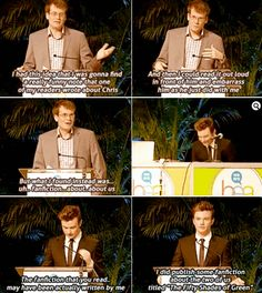 True friendship means you write punny erotic friendfiction about each other. John Green and Chris Colfer have such an amazing beautiful hilarious friendship Hank Green, John Green Funny, Funny Memes, Hilarious, Jokes, Glee Memes, Funny Note, John Green Books, Chris Colfer