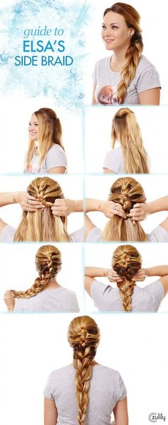 Guide to Elsa's Side Braid, Disney Frozen Hair Tutorials – Elsa and Anna Hacks. Step by Step Tutorials for Side Braids, Coronation Buns, and Royal Updos on Frugal Coupon Living.