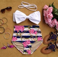 lean mean bikini. high waisted bikinis and swimsuits are the best for this summer. make your curves look great. Big or small tall or short, you will look amazing in high waisted swimwear Haut Bikini, The Bikini, Floral Bikini, Bikini Ready, Summer Wear, Summer Outfits, Cute Outfits, Summer 2016, Style Summer