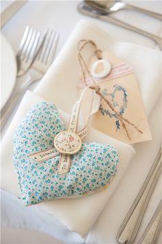 Vintage fabric, lavender bag favours - YouAndYourWedding