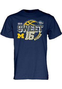 938b05a899fc Michigan Wolverines Navy Blue 2019 NCAA Sweet 16 Short Sleeve T Shirt -  572349