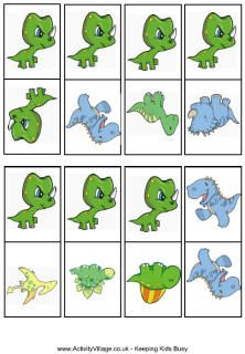 Dinosaur dominoes printable