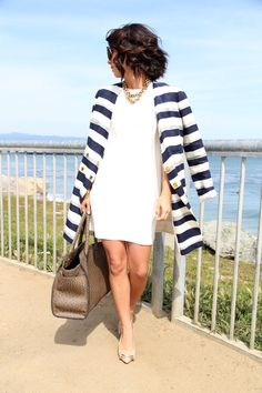YaYa Bay Stylish Blouses Pullover - Now Outfits Chic Outfits, Summer Outfits, Summer Clothes, New Mode, Vogue, Striped Jacket, Striped Blazer, Classy And Fabulous, Look Chic