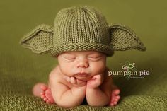 LOL! for the Star Wars fan...knitted Yoda hat for a baby! by PinkToad on etsy sparkliebyjulie